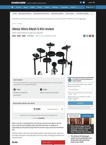 MusicRadar.com Alesis Nitro Mesh E-Kit