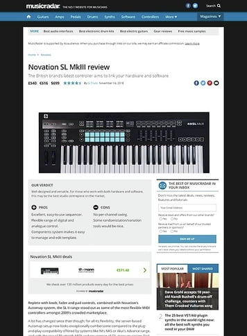 MusicRadar.com Novation SL MkIII