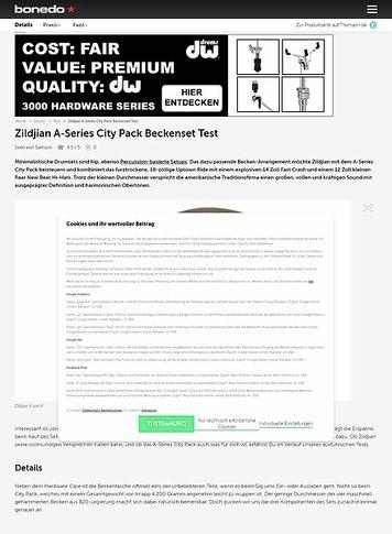 Bonedo.de Zildjian A-Series City Pack Beckenset
