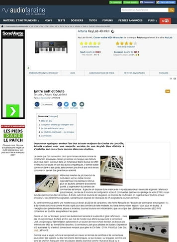 Audiofanzine.com Arturia KeyLab 49 mkII