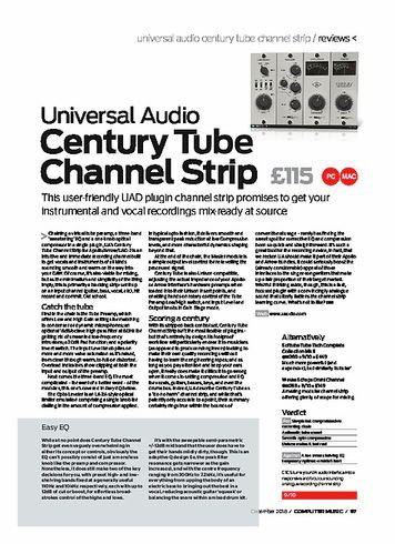 Computer Music Universal Audio Century Tube Channel Strip