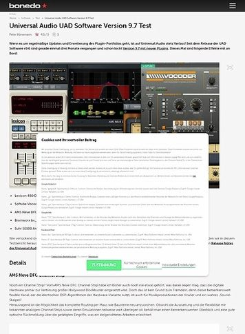Bonedo.de Universal Audio UAD Software Version 9.7
