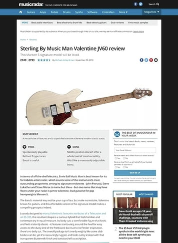 MusicRadar.com Sterling By Music Man Valentine JV60
