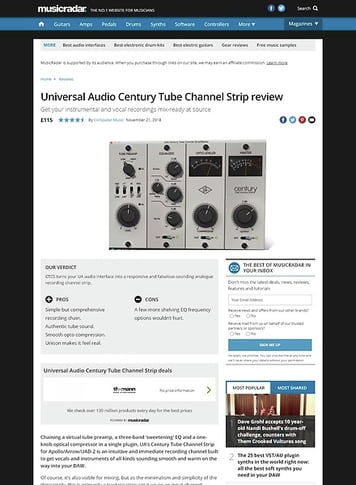 MusicRadar.com Universal Audio Century Tube Channel Strip