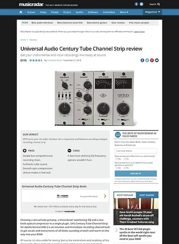 MusicRadar.com Universal Audio Century Tube Channel Strip