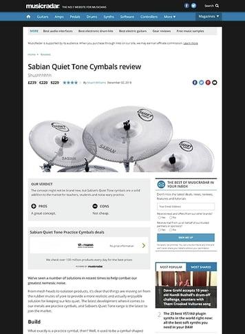 MusicRadar.com Sabian Quiet Tone Cymbals