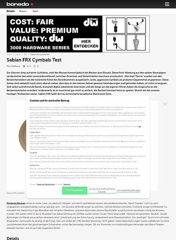 Bonedo.de Sabian FRX Cymbals
