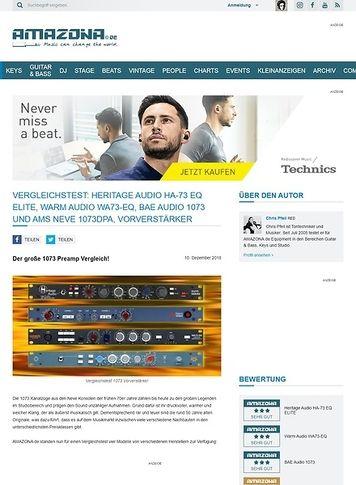 Amazona.de Vergleichstest: Heritage Audio HA-73 EQ ELITE, Warm Audio WA73-EQ, BAE Audio 1073 und AMS Neve 1073DPA