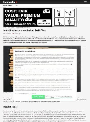 Bonedo.de Meinl Drumstick Neuheiten 2018