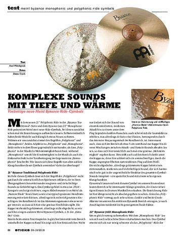 Sticks Meinl Byzance Monophonic und Polyphonic Ride Cymbals