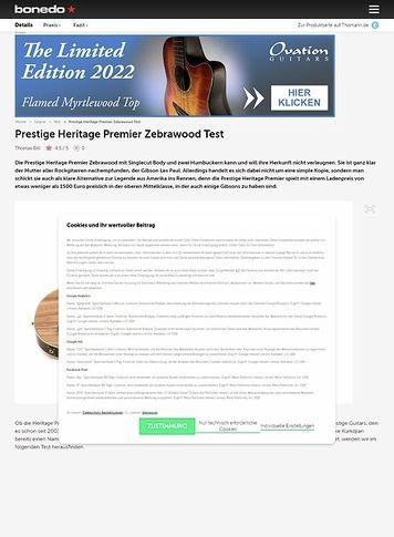 Bonedo.de Prestige Heritage Premier Zebrawood