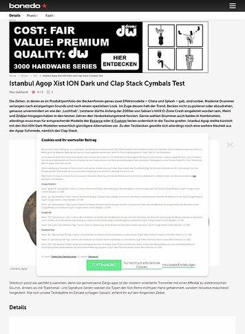 Bonedo.de Istanbul Agop Xist ION Dark und Clap Stack Cymbals