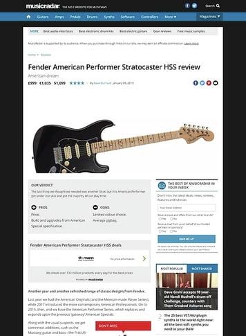 MusicRadar.com Fender American Performer Stratocaster HSS