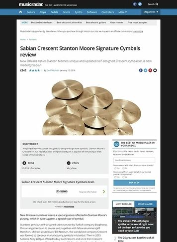 MusicRadar.com Sabian Crescent Stanton Moore Signature Cymbals