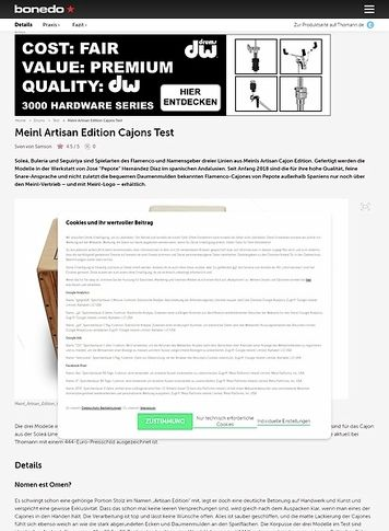 Bonedo.de Meinl Artisan Edition Cajons