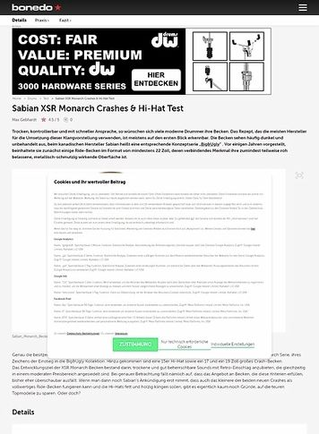 Bonedo.de Sabian XSR Monarch Crashes & Hi-Hat