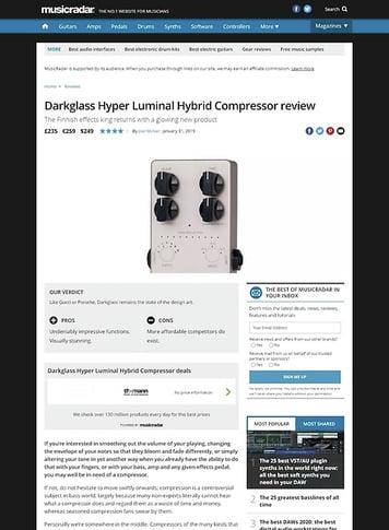 MusicRadar.com Darkglass Hyper Luminal Hybrid Compressor