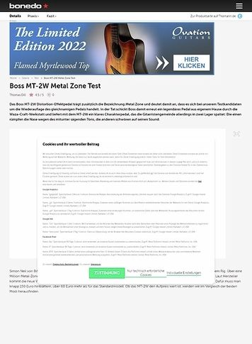 Bonedo.de Boss MT-2W Metal Zone