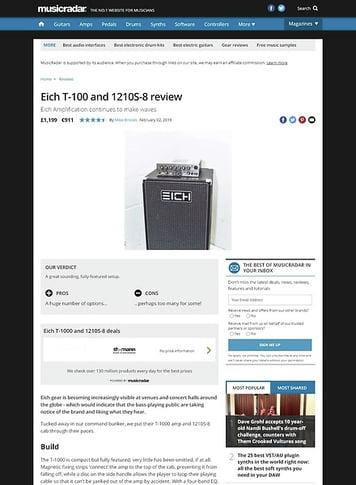 MusicRadar.com Eich T-1000 and 1210S-8