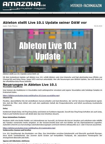 Amazona.de Ableton Live 10.1 Update
