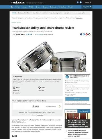 MusicRadar.com Pearl Modern Utility steel snare drums