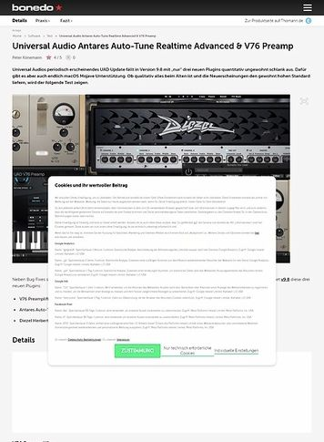 Bonedo.de Universal Audio Antares Auto-Tune Realtime Advanced, brainworx Diezel Herbert Amplifier & V76 Preamp