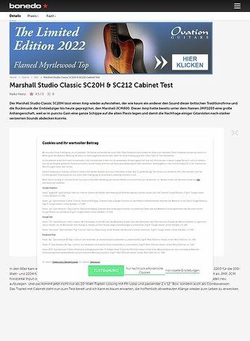 Bonedo.de Marshall Studio Classic SC20H &  SC212 Cabinet