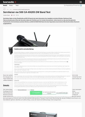 Bonedo.de Sennheiser ew 500 G4-KK205 DW Band
