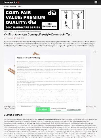 Bonedo.de Vic Firth American Concept Freestyle Drumsticks