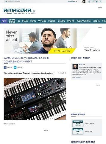 Amazona.de Yamaha MODX6 und Roland FA-06 im Coverband-Kontext