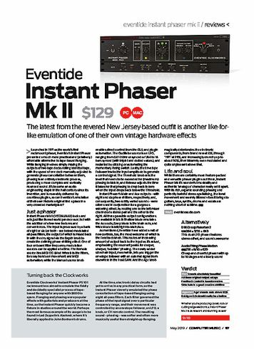 Computer Music Eventide Instant Phaser MkII