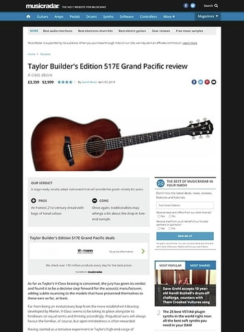 MusicRadar.com Taylor Builder's Edition 517E Grand Pacific