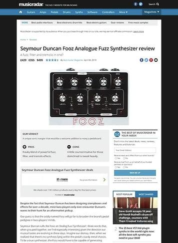 MusicRadar.com Seymour Duncan Fooz Analogue Fuzz Synthesizer