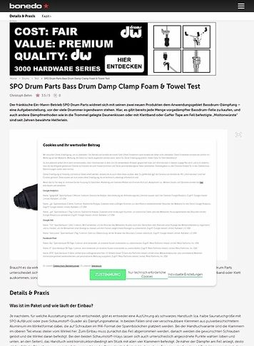 Bonedo.de SPO Drum Parts Bass Drum Damp Clamp Foam und Towel