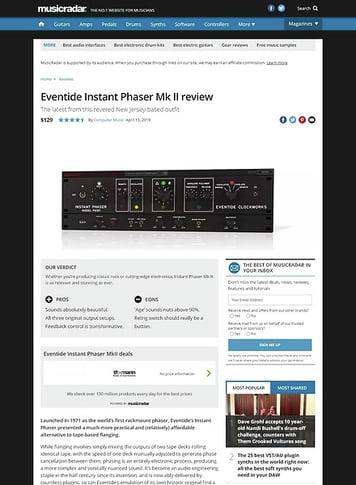 MusicRadar.com Eventide Instant Phaser Mk II