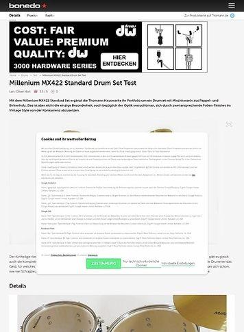 Bonedo.de Millenium MX422 Standard Drum Set