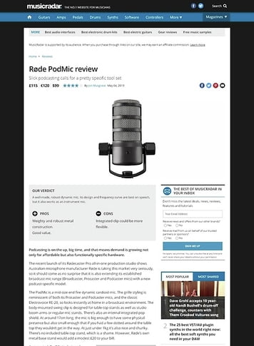 MusicRadar.com Røde PodMic