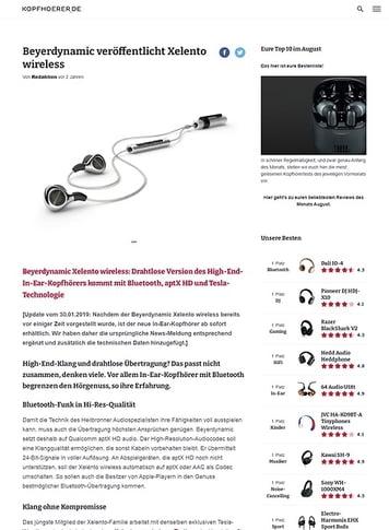 Kopfhoerer.de beyerdynamic Xelento Wireless
