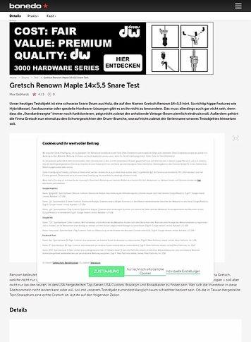 Bonedo.de Gretsch Renown Maple 14x5,5 Snare