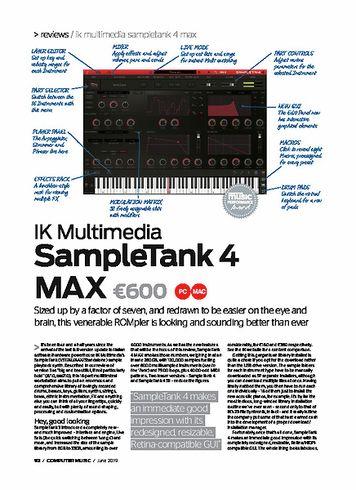 Computer Music IK Multimedia SampleTank 4 MAX