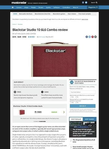 MusicRadar.com Blackstar Studio 10 6L6 Combo