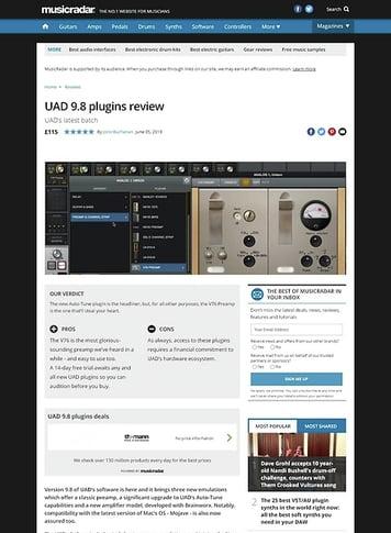 MusicRadar.com UAD 9.8 plugins