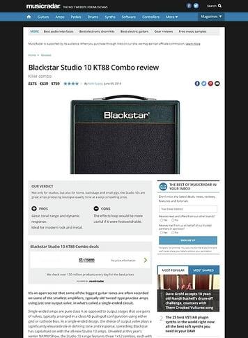 MusicRadar.com Blackstar Studio 10 KT88 Combo