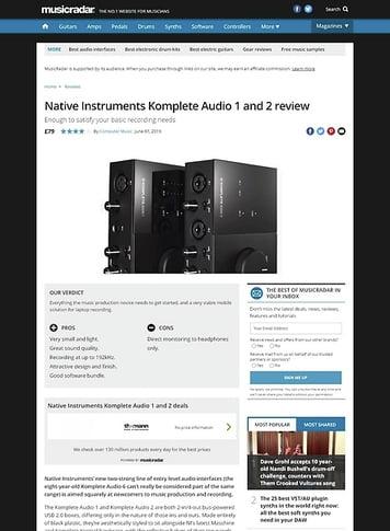 MusicRadar.com Native Instruments Komplete Audio 1 and 2