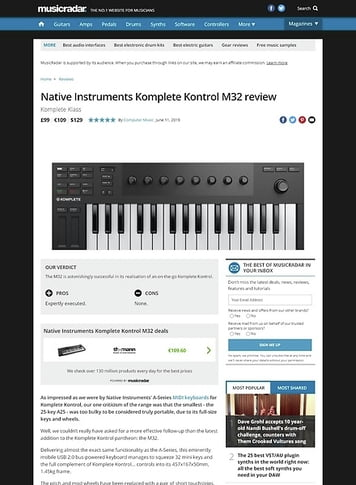 MusicRadar.com Native Instruments Komplete Kontrol M32