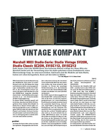 Gitarre & Bass Marshall Studio Vintage SV20H, Studio Classic SC20H, SV/SC112, SV/SC212