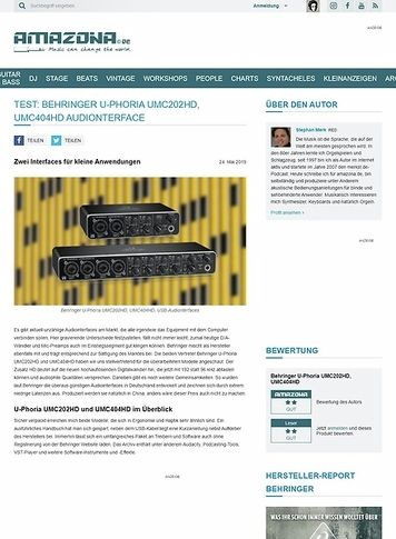 Amazona.de Behringer U-Phoria UMC202HD & UMC404HD