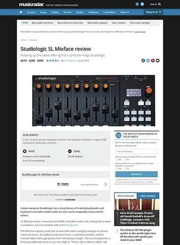 MusicRadar.com Studiologic SL Mixface