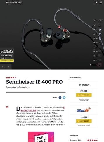 Kopfhoerer.de Sennheiser IE 400 Pro SBK
