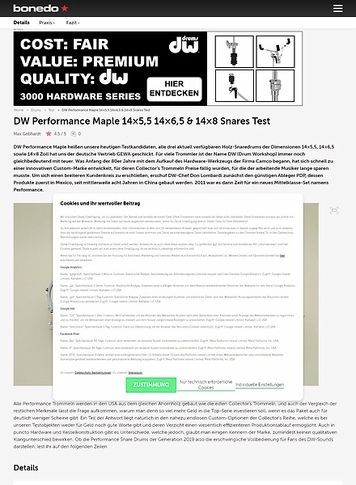 Bonedo.de DW Performance Maple 14x5,5 14x6,5 & 14x8 Snares Test